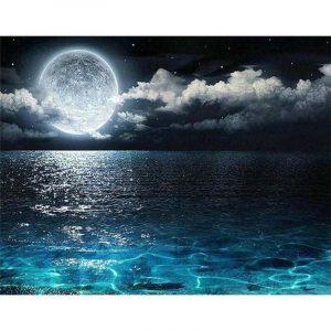 Beautiful Moon and Sea