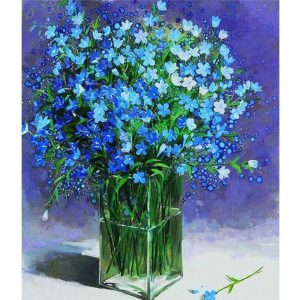 Blue Flower in Transparent Pot