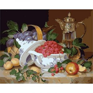 Fruits and Flowers in White Pot
