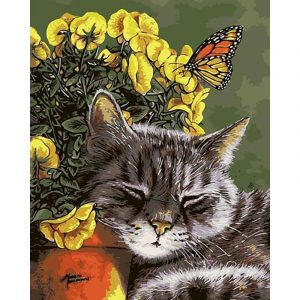 Sleeping Cat And Flower
