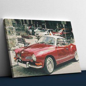 Red Color Vintage Car