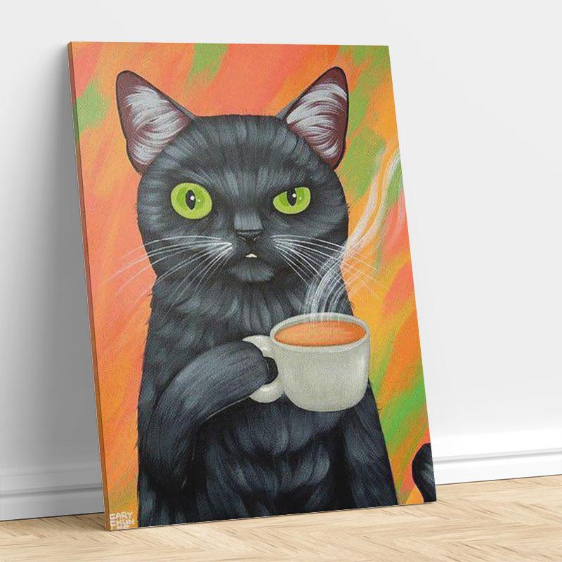 Cat Enjoying Tea