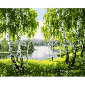 Green trees and the river