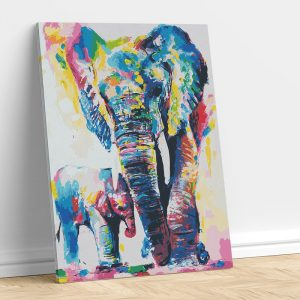 Abstract Elephant with Calf