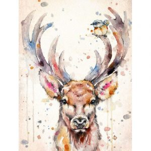 Abstract Reindeer And Sparrow