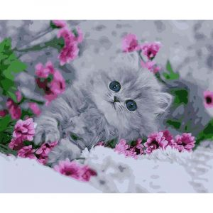 Cute Cat and Flowers