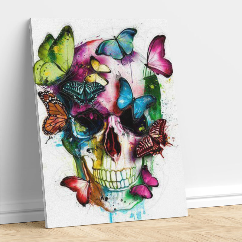 Colorful Skull with Butterfly