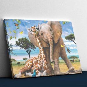 Best Friends - Giraffe and Elephant