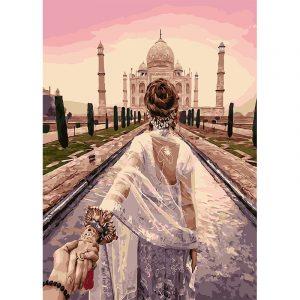 Romantic Couple Watching Taj